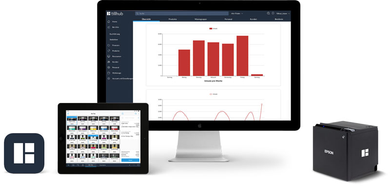 Tillhub iPad Kassensystem Dashboard Bondrucker iMac Software