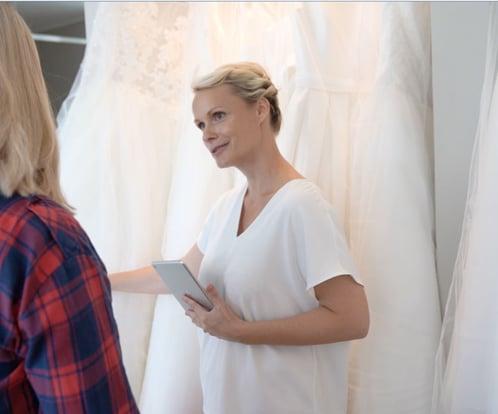 Brautmode Frauen Kleider Geschäft Verkauf ipad Kasse